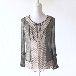 Zara silk sheer paisley print boho top blouse M
